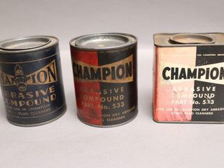 3 ASSORTED CHAMPION ABRASIVE CANS