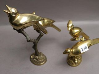2 BRASS BIRD ORNAMENTS