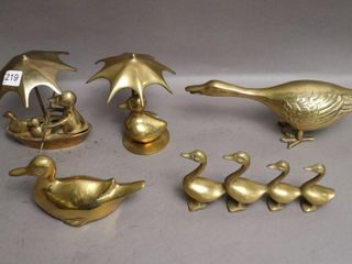 5 BRASS DUCK FIGURINES