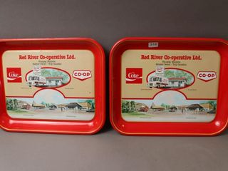 2 COCA COlA CO OP SERVING TRAYS   10 X13