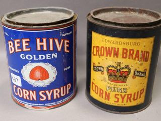 BEE HIVE AND CROWN BRAND CORN SYRUP TINS
