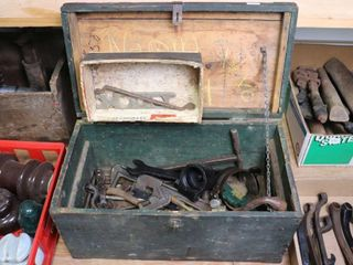 WOODEN TOOl BOX AND ASSORTED EARlY TOOlS