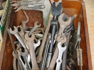 BOX OF EARlY ASSORTED WRENCHES