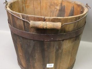 WOODEN PAIl WITH HANDlE   11 H X 15 W