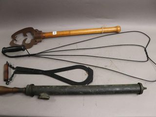 RUG BEATER  BRASS FlY SPRAYER AND ANTIQUE TONGS