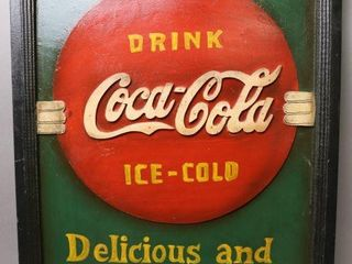WOODEN COCA COlA SIGN   16 W X 12 H