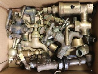 BOX OF BRASS TAPS