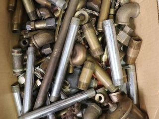 BOX OF BRASS AND CHROME FITTINGS