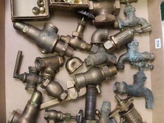 BOX OF BRASS VAlVES AND CAPS
