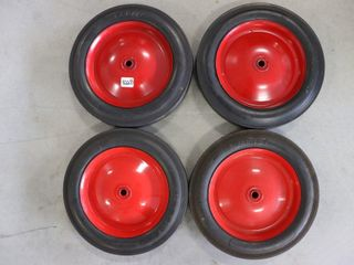 SET OF 4 10 X 1 75 HARD TIRES AND RIMS