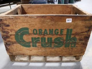 WOODEN ORANGE CRUSH CRATE19 X13 X13