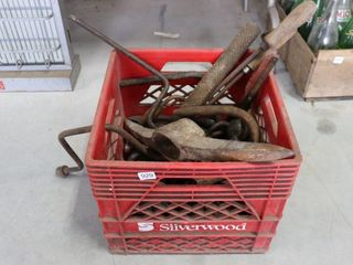 lARGE CRATE OF ASSORTED ANTIQUE TOOlS