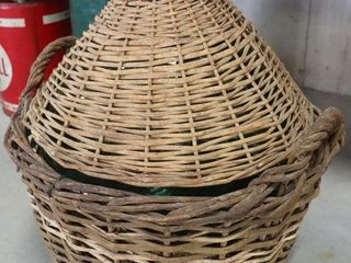 lARGE WINE JUG WITH WICKER CASE