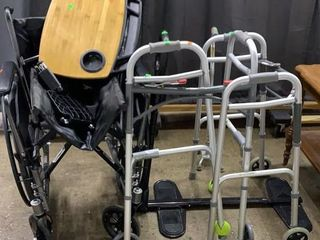 Invacare Wheel Chair, Tray, Bed Assist, 2 Walkers