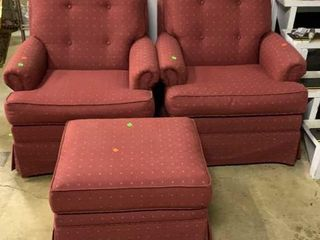 Pair Of Maroon Arm Chairs And Ottoman 32x33x33