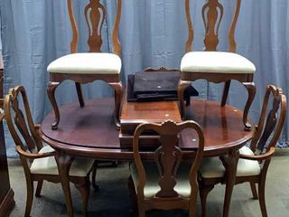 Dixie Dining Table 6 Chairs, 2 Leaves And Pads