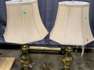 Pair Of Brass Style Lamps Damaged Shades 37