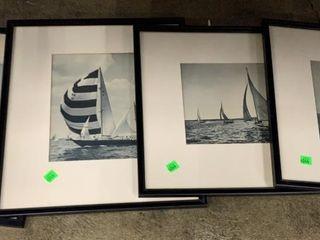4 Black And White Sailboat Prints