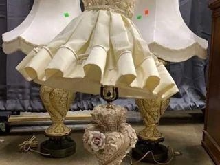3 Table Lamps Floral Motif