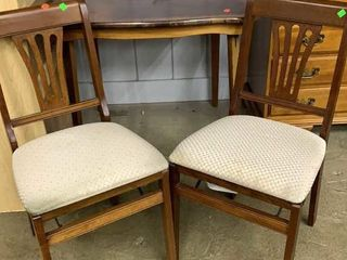 Wooden Folding Table And 2 Folding Chairs