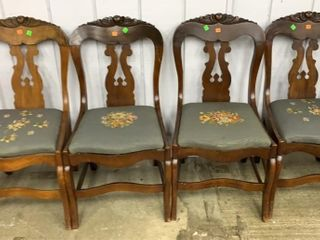 4 Carved Back Tapestry Seat Chairs Seat Height