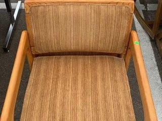 2 Wood And Fabric Arm Chairs