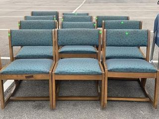 11 Wood And Fabric Arm Chairs- Green