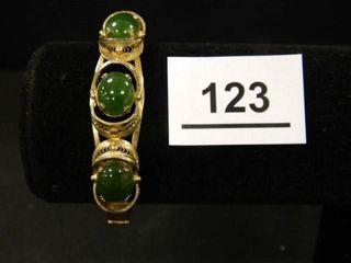 Bracelet w 3 Green Stones  Sterling