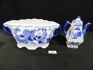 Blue White Planter  Teapot