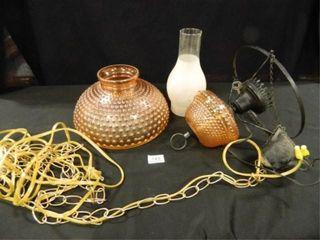 Hobnail lamp w Shade  Vintage