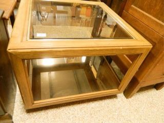 Wood   Glass Table  27  x 27  x 21