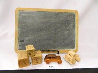 Chalkboard  3 Blocks  2 Wood Cars