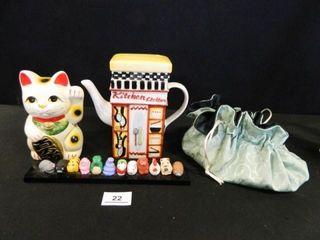 Cat Bank  Teapot  Animal Figurine