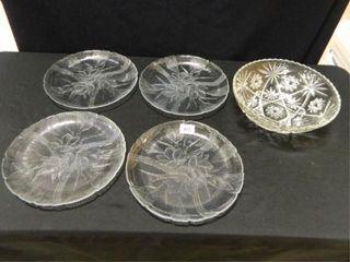 Serving Bowl   4  Plates w Floral