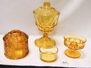 Amber Glass  Candy Dish w lid