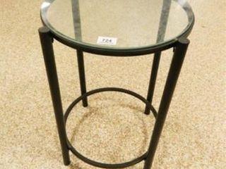 Glass   Metal lamp Table