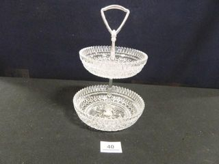 2 Tiered Glass Serving Piece