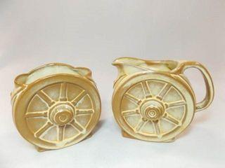 Frankoma Wagon Wheel Cream   Sugar