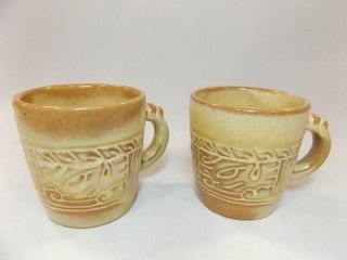 Frankoma Brown Tone Patterned Cups  2