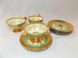 Victoria Teacups  3  Saucers 5  24K Gold