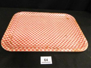 Red White Metal Tray  Vintage