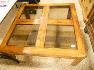 Square Coffee Table w Glass Inserts