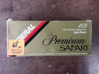 Federal Premium Safari .458 Winchester Magnum 510 Grain Soft Point Bullet Full Box Of 20