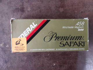 Federal Premium Safari .458 Winchester Magnum 500 Grain Solid Bullet Full Box Of 13 & 7 Empty Cases