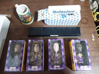 4-Lakers Bobble Heads With Display Stand, Budweiser Trailer, Anheuser Busch Stein