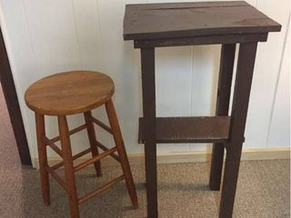 Homemade Wood Tall table   Round Wood Counter still