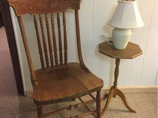 Antique Oak Side Chair  Small side table   lamp   needs new shade