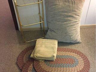 3 Oval Rugs  Non slip Rug mat  large lounge Pillow  Small Metal rack shelf