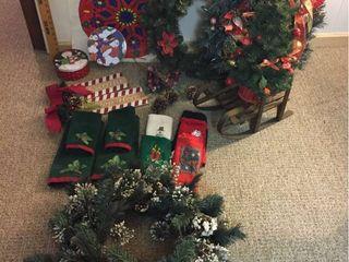 Christmas Decor  Hand Towels  Tins  Wreaths