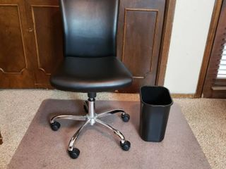 Computer Chair  Chair Mat and Trash Can